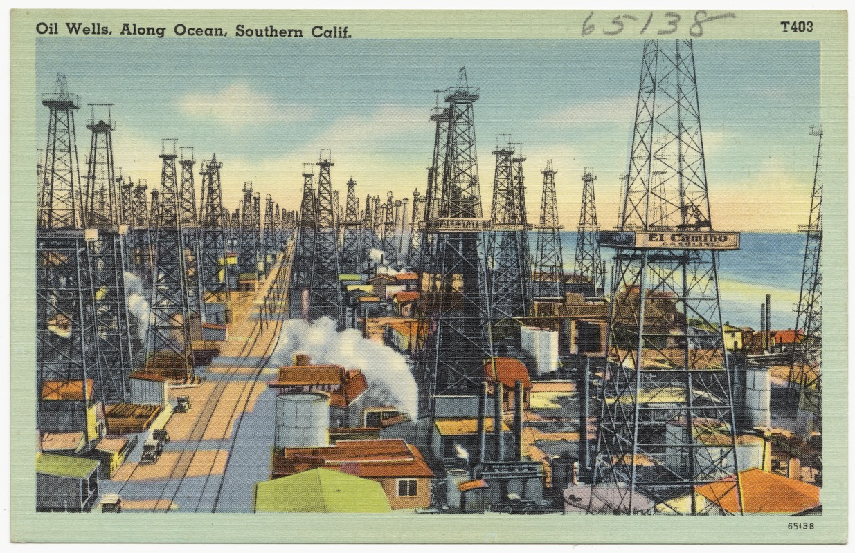Oil Wells, Along Ocean, Southern Calif.