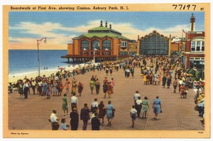 Boardwalk at First Ave. showing casino, Asbury Park, N. J.