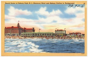 Beach scene at Asbury Park, N. J., Monterey Hotel and Asbury Carlton in background
