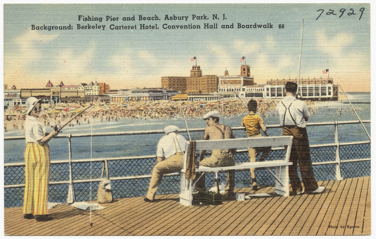 Fishing pier and beach, Asbury Park, N. J. Background: Berkeley Carteret Hotel, convention hall and boardwalk