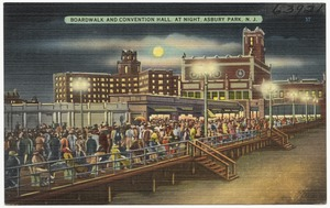 Boardwalk and convention hall, at night, Asbury Park, N. J.
