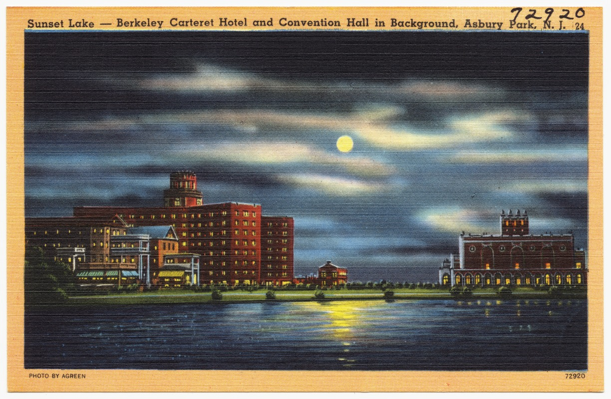 Sunset Lake -- Berkeley Carteret Hotel and convention hall in Background, Asbury Park, N. J.
