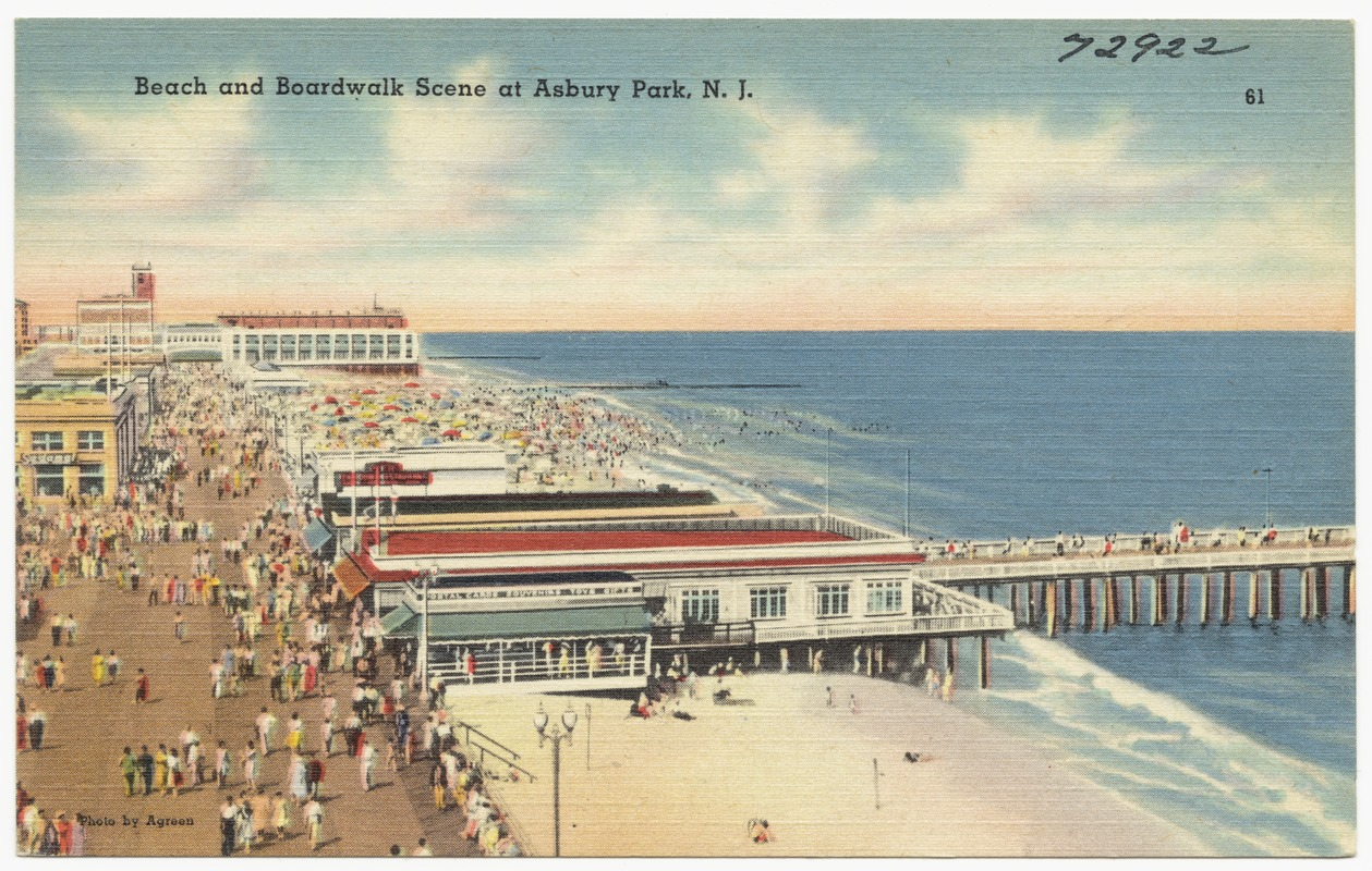 Beach And Boardwalk Scene At Asbury Park N J