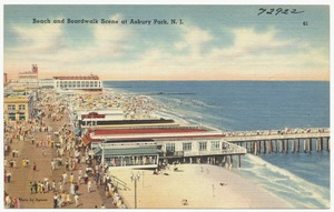 Beach and boardwalk scene at Asbury Park, N. J.