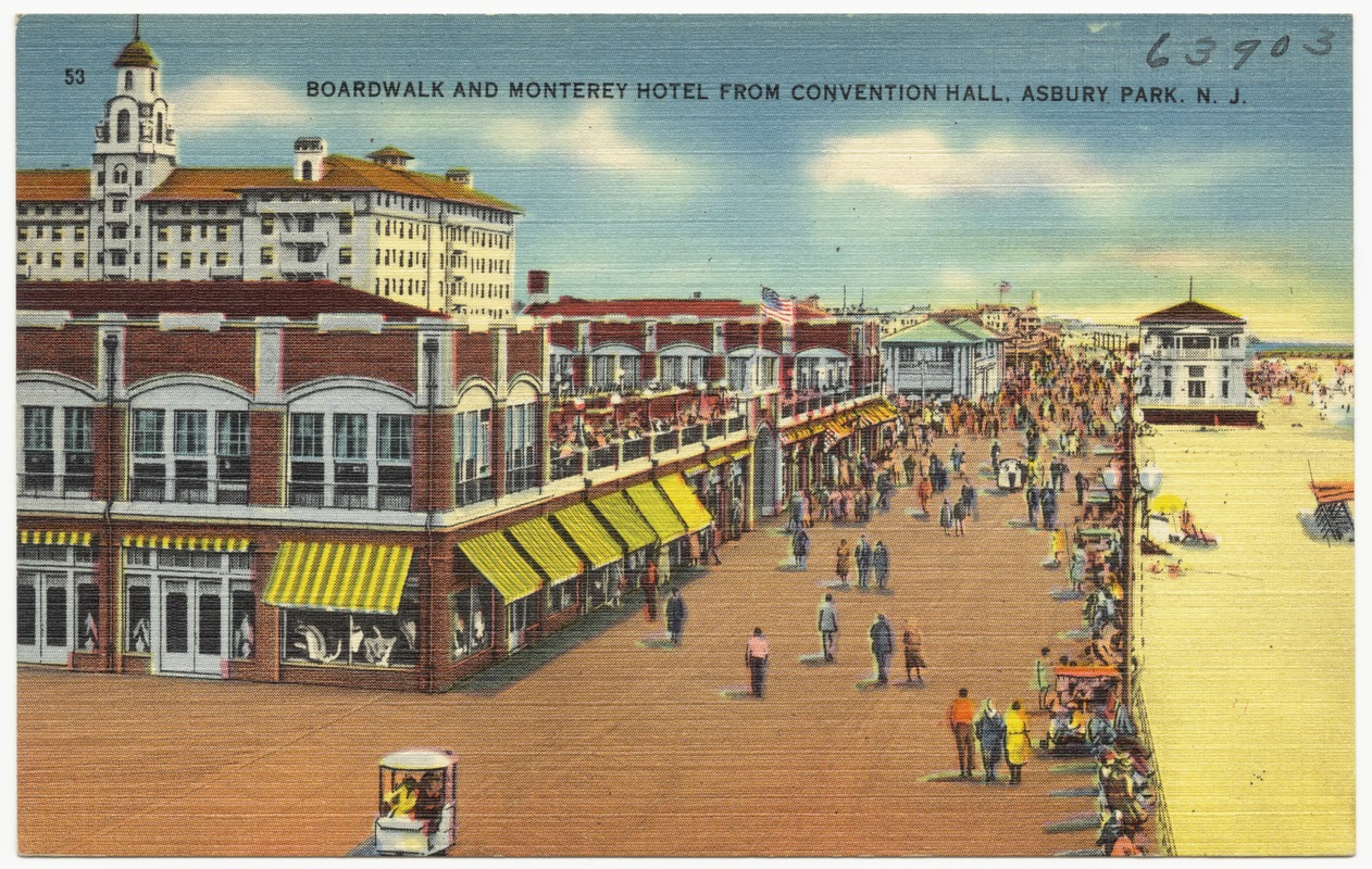 Boardwalk and Monterey Hotel from convention hall, Asbury Park, N. J.