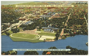 Looking south over Asbury Park, N. J., Deal Lake in foreground. High school, athletic field and stadium on shore of lake