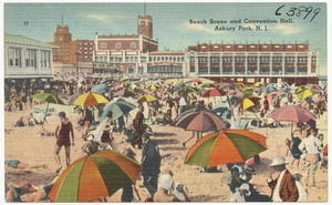 Beach scene and convention hall, Asbury Park, N. J.