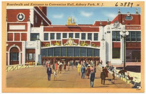 Boardwalk and Entrance to convention hall, Asbury Park, N. J.