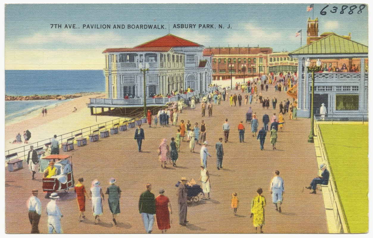 7th Ave., pavilion and boardwalk, Asbury Park, N. J.