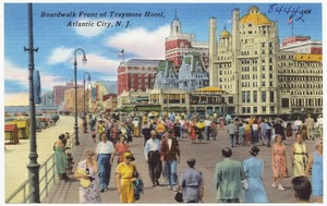 Boardwalk front of Traymore Hotel, Atlantic City, N. J.