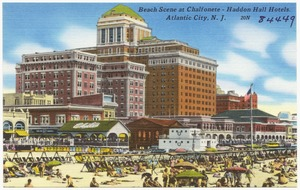 Beach scene at Chalfonete -- Haddon Hall Hotels. Atlantic City, N. J.