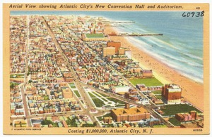 Aerial view showing Atlantic City's new convention hall and auditorium, costing $1,000,000, Atlantic City, N. J.
