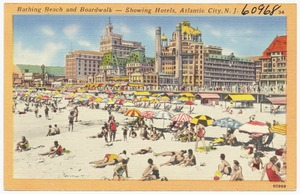 Bathing beach and boardwalk -- showing hotels, Atlantic City, N. J.