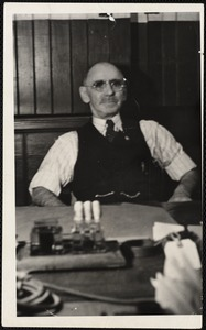 Charles Broadbent at his desk Arlington Mills wool room - clerk