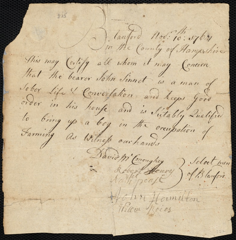 Document of indenture: Servant: Smith, Peter. Master: Sinnet, John. Town of Master: Blanford. Selectmen of the Poor of Blanford autograph document signed to Whom It May Concern: Endorsement Certificate for Peter Smith.