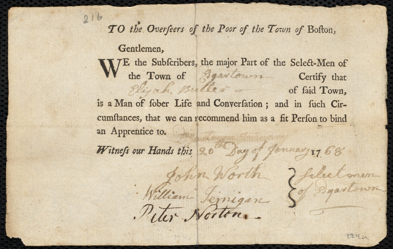 Document of indenture: Servant: McGown, Edward. Master: Butler, Elijah. Town of Master: Edgartown. Selectmen of the town of Edgartown autograph document signed to the Overseers of the Poor of the town of Boston: Endorsement Certificate for Edward McGowan.