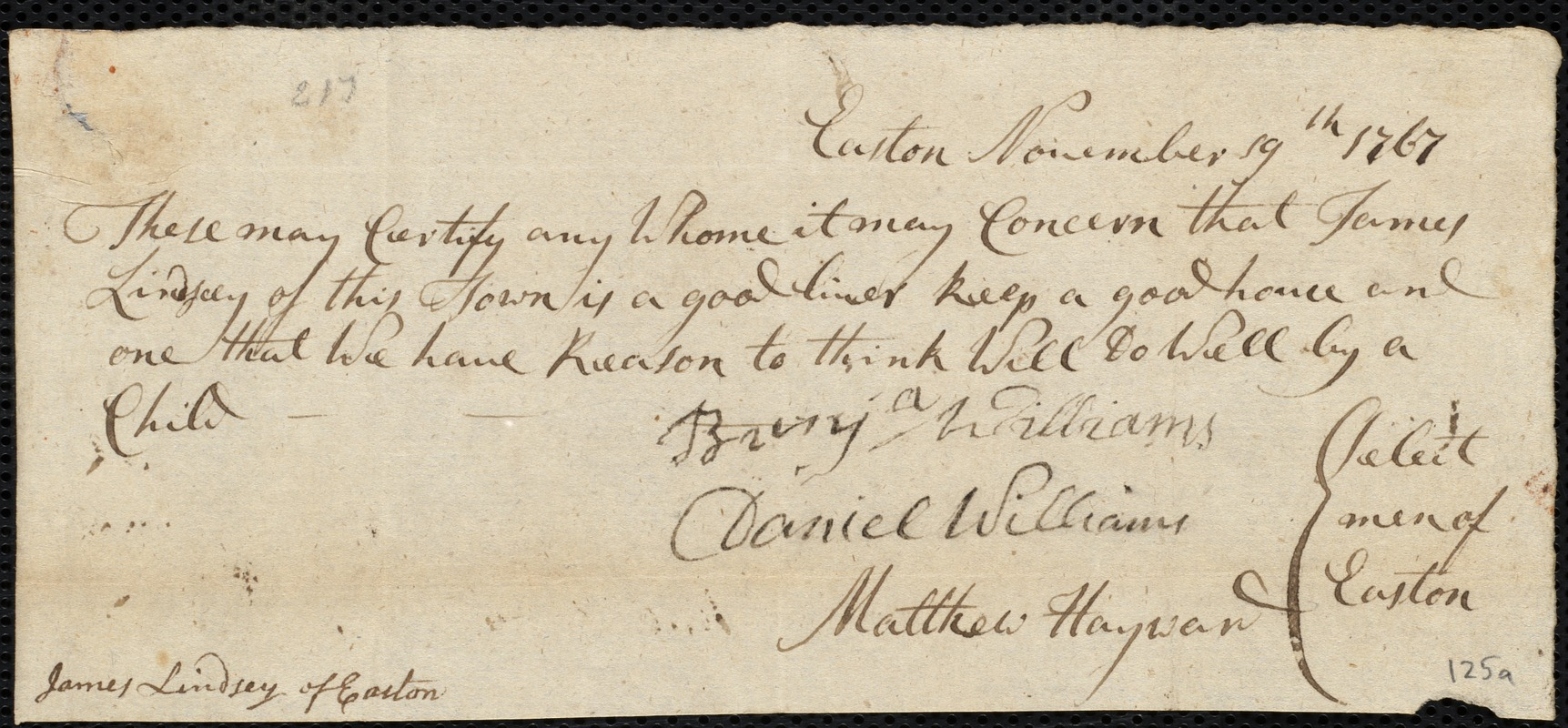Document of indenture: Servant: Cherry, Samuel. Master: Lindsay, James. Town of Master: Easton. Selectmen ot the town of Easton autograph document signed to the Overseers of the Poor of the town of Boston: Endorsement Certificate for James Lindsay.