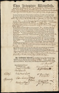 Document of indenture: Servant: Shaw, Mary. Master: Biggs, William. Town of Master: Truro
