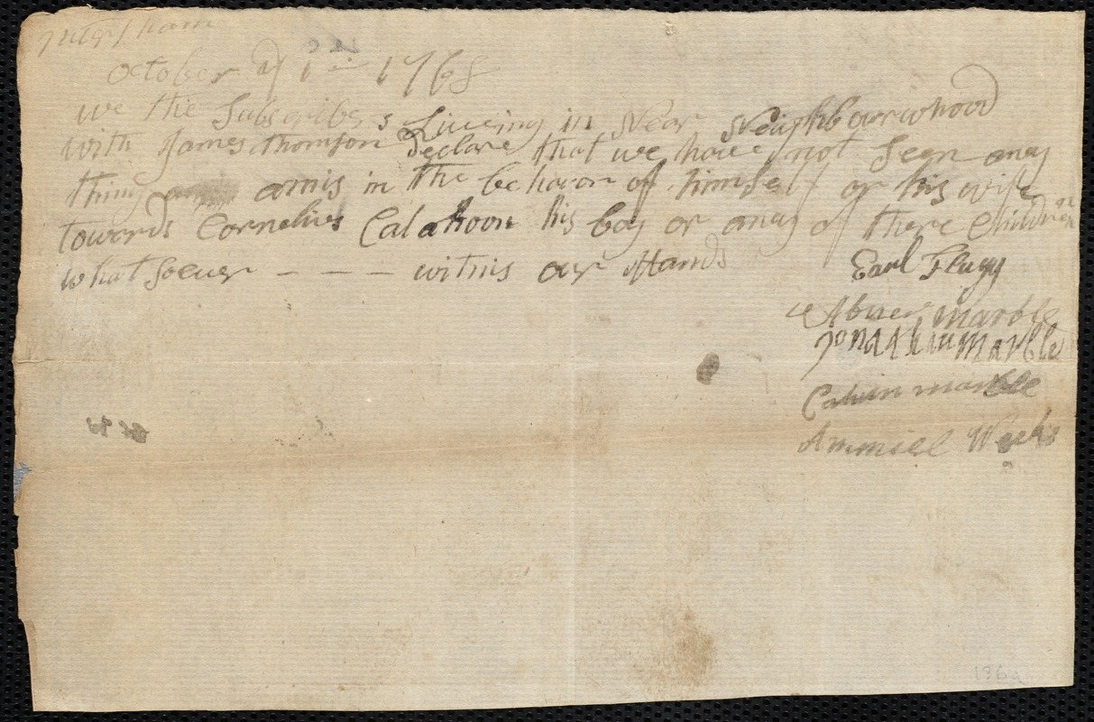Document of indenture: Servant: Kellihorn, Cornelius. Master: Thompson [Thomson], James. Town of Master: Petersham. Selectmen of the town of Petersham autograph document signed to the [Overseers of the Poor of the town of Boston]: Endorsement Certificate for James Thomson.