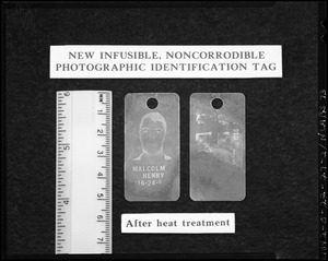 New infusible, noncorrodible photographic identification tab, after heat treatment