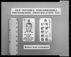 New infusible, noncorrodible photographic identification tab, before heat treatment