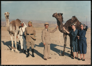 Helen Keller and Polly Thomson with Camels in the Middle East