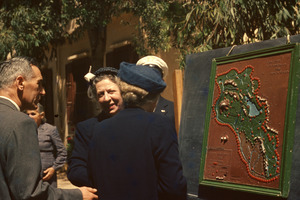 Helen Keller and Polly Thomson with Tactile Map of Lebanon, Beirut