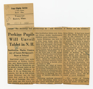 Article from Transcript, Boston, Mass., Oct. 9, 1937