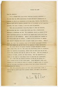Letter from Helen Keller to Dr. Farrell, Director of Perkins School for the Blind