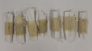 Seven pieces of tatted lace, made by Laura Bridgman