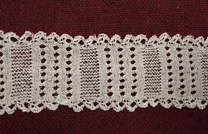 Strip of lace tatting, made by Laura Bridgman (close-up)