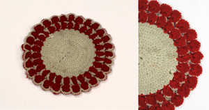 Red and white doily, made by Laura Bridgman