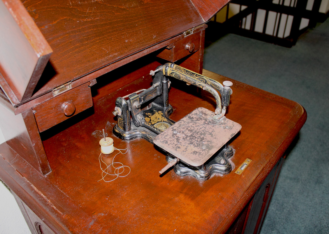 Close up of Laura Bridgman's Wheeler and Wilson Sewing Machine