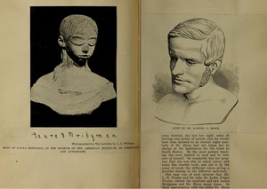 Clippings with Laura Bridgman Bust and S. G. Howe Illustration