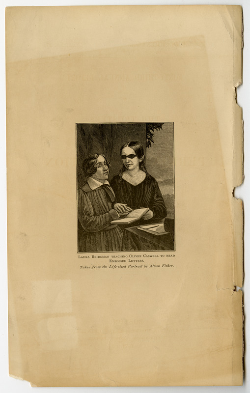 Laura Bridgman teaching Oliver Caswell to Read Embossed Letters