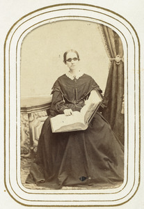Laura Bridgman Reading Embossed Book, circa 1860