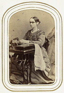 Laura Bridgman Using Her Sewing Machine, c. 1870