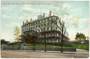 Color Postcard, Perkins School for the Blind ; Postcard to Mrs. Underwood in Brockton, Mass.