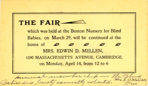 The Fair - The Blind Babies Aid Society ; Note to Mrs. Thomas