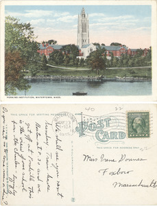 Color Postcard of Perkins Campus with Perkins Pond