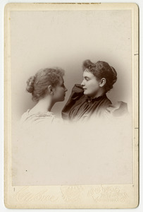 Helen Keller and Anne Sullivan Portrait Facing Each Other