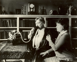 Anne Sullivan Macy and Helen Keller with Dictaphone