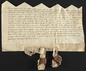 Grant of property, 1426 August 4, by John Cleseby, Thomas Makeblythe and John Wardale to Robert and Katharine Plays and to John Trollope and Agnes (Cleseby) Trollope