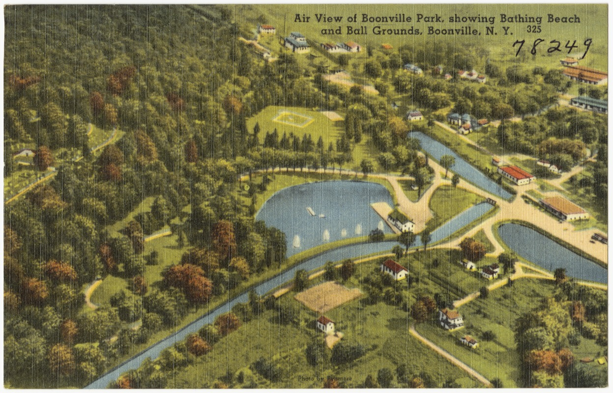 Air view of Boonville Park, showing Bathing Beach and Ball Grounds, Boonville, N. Y.