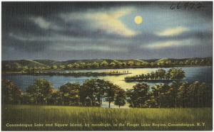 Canandaigua Lake and Squaw Island, by moonlight, in the Finger Lake Region, Canandaigua, N. Y.