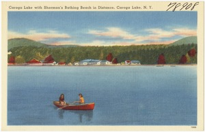 Caroga Lake with Sherman's Bathing Beach in distance, Caroga Lake, N. Y.