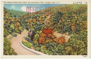 The famous horse shoe curve, Rip Van Winkle Trail, Catskill Mts., N. Y.