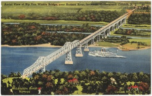 Aerial view of Rip Van Winkle Bridge, over Hudson River, between Hudson and Catskill, N. Y.