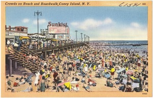 Crowds on beach and boardwalk, Coney Island, N. Y.