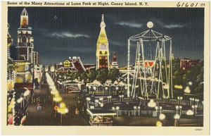 Some of the many attractions of Luna Park at night, Coney Island, N. Y.
